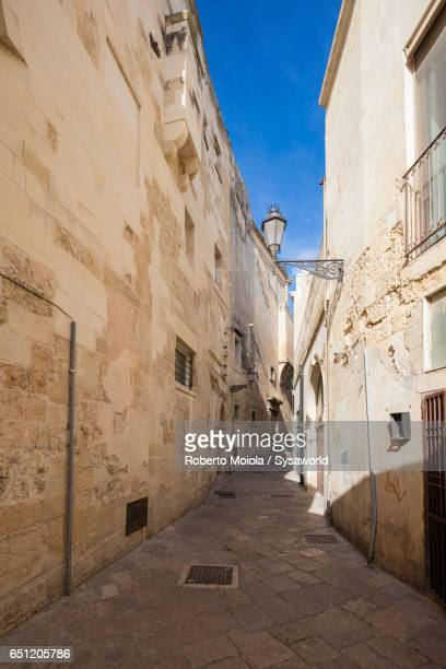 Typical alley and houses of the old town Lecce