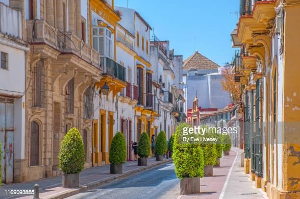 typical andalucian street - jerez de la frontera - jerez de la frontera fotografías e imágenes de stock
