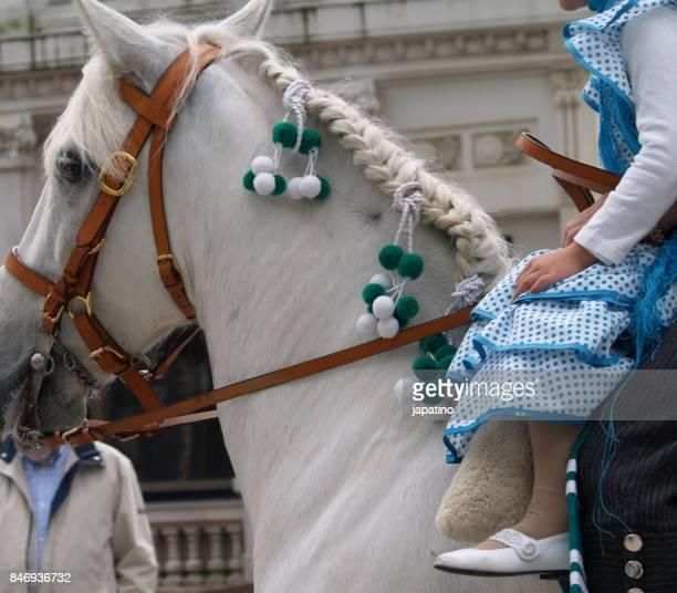 typical andalusian horse adorned for the april fair - marisma fotografías e imágenes de stock
