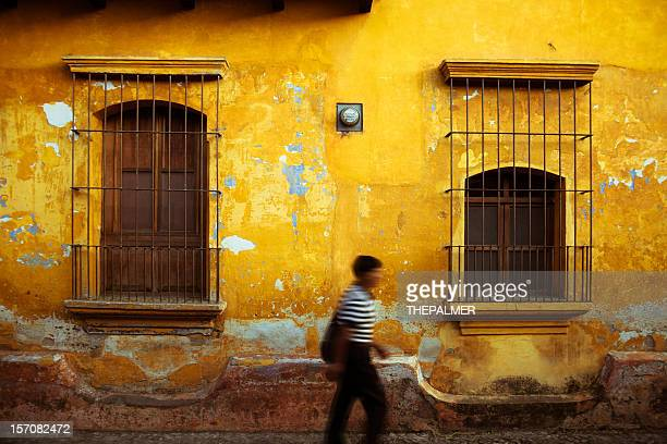 typical antigua guatemala colorful facade - guatemala stock pictures, royalty-free photos & images