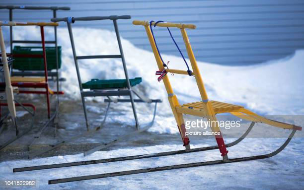 Typical arctic skis can be seen in front of the reception at the Kings Bay Research Station on Spitsbergen in NyAelesund Norway 10 April 2015 Arctic...