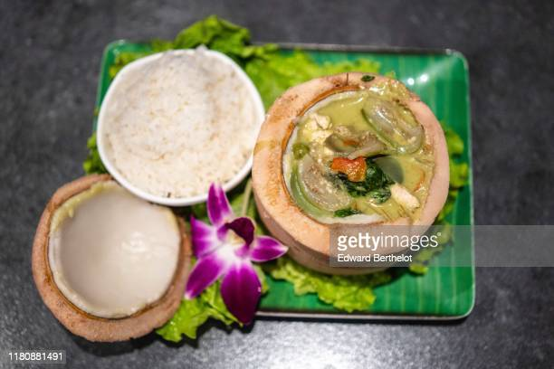 typical asian food: coconut, rice and chicken curry - edward berthelot photos et images de collection