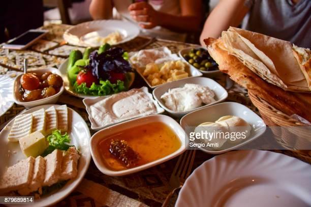 A typical Azerbaijani breakfast