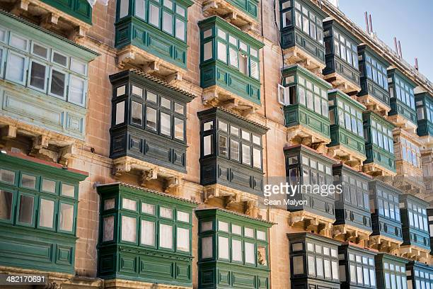 typical balconies, valletta, malta - sean malyon stock pictures, royalty-free photos & images