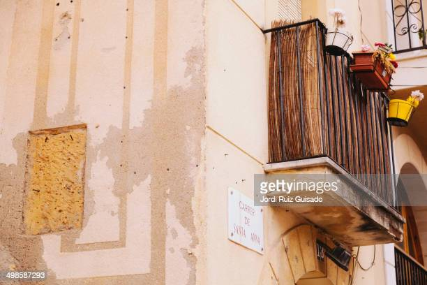 Typical balcony on a street in Tarragona, Catalonia. Spain