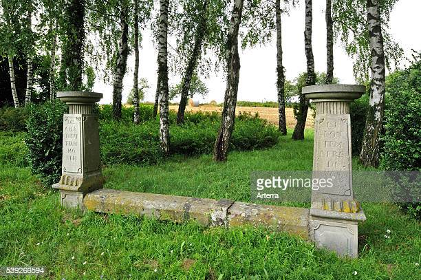 Typical banc de l'imperatrice / Empress' bench along road at Ottwiller in the Vosges; Alsace; France.