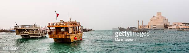 typical boats on dhow harbour - doha stock pictures, royalty-free photos & images