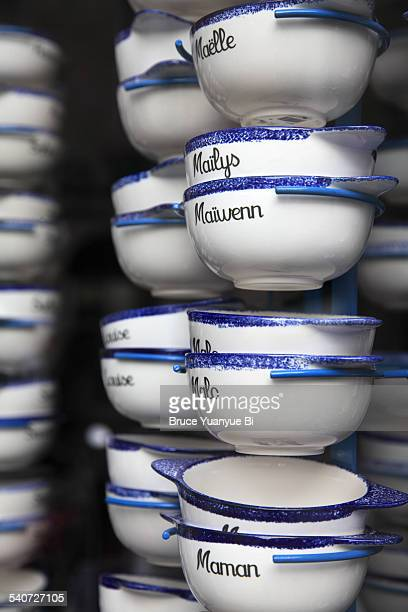 typical breton cider bowls - bretagne photos et images de collection