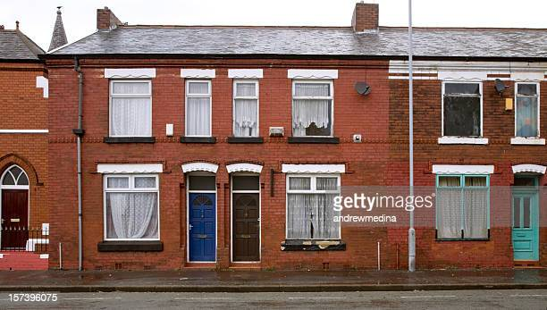 typical british working-class homes-see lightboxes below for more - manchester uk stock photos and pictures