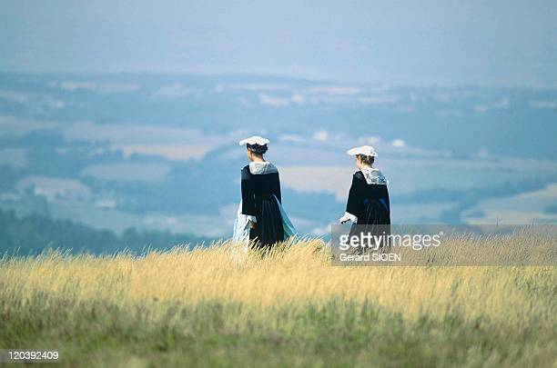 Typical Brittany in France Finistere Saint Pierre Quiberon MenezHom folkloric manifestation at top Breton women in traditional costumes