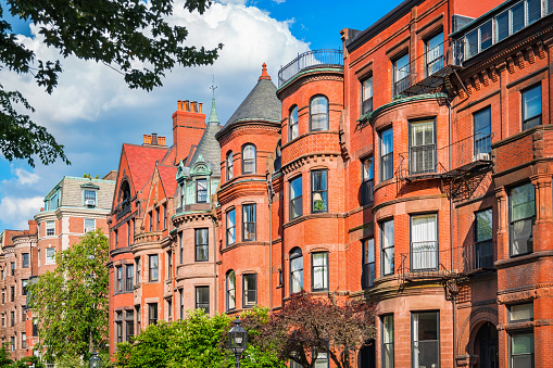 Typical Brownstone Row Houses in Back Bay Boston Massachusetts USA 542188884