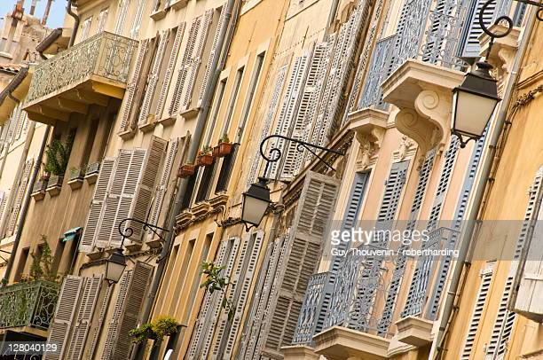 Typical building facade, Old Aix, Aix en Provence, Provence, France, Europe