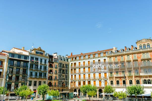 typical buildings in pamplona, spain - pamplona stock pictures, royalty-free photos & images