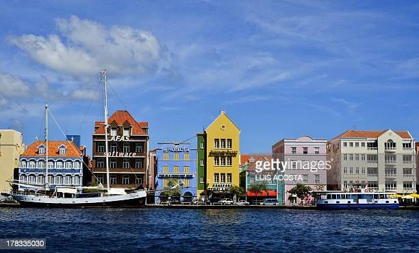 Typical buildings in the Port of Willenstad Curacao on August 29 2013 AFP PHOTO / Luis Acosta