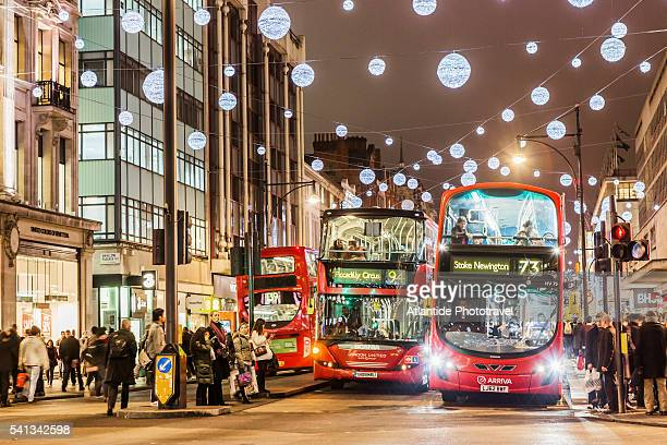 Typical busses in Oxford street during the Christmas period