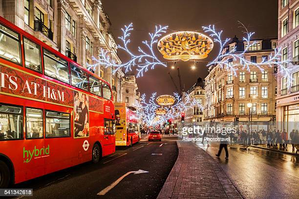 Typical busses in Regent street during the Christmas period