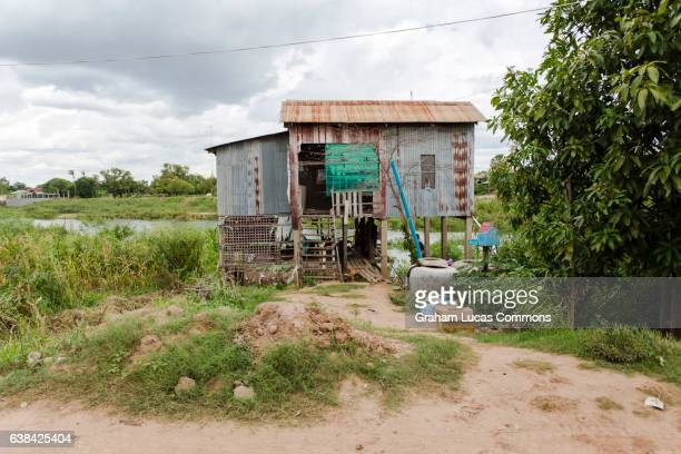 Typical Cambodia rural house on Koh Dach Island in the Mekong River Delta.