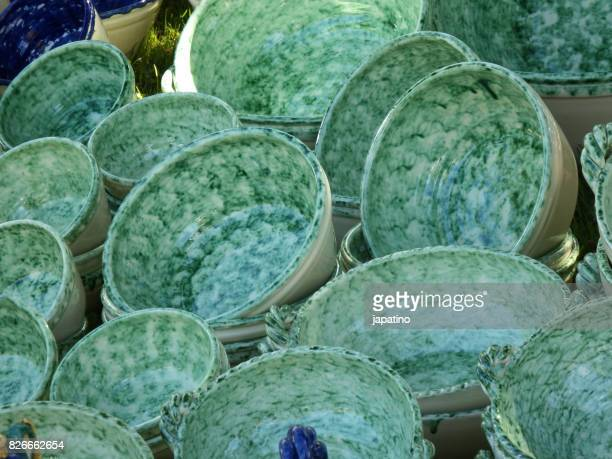 typical ceramics of badajoz. spain - vaso de barro imagens e fotografias de stock