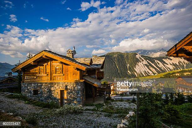 typical chalet in route de l'altiport - courchevel stock pictures, royalty-free photos & images