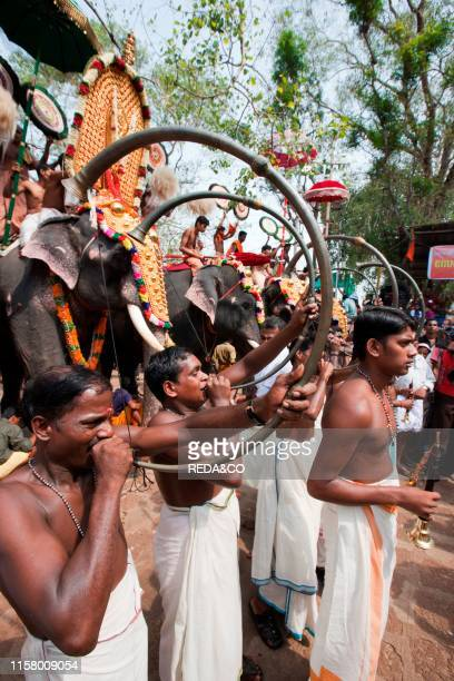 Typical 'Chenda Melam' a musical performance during the Thrissur