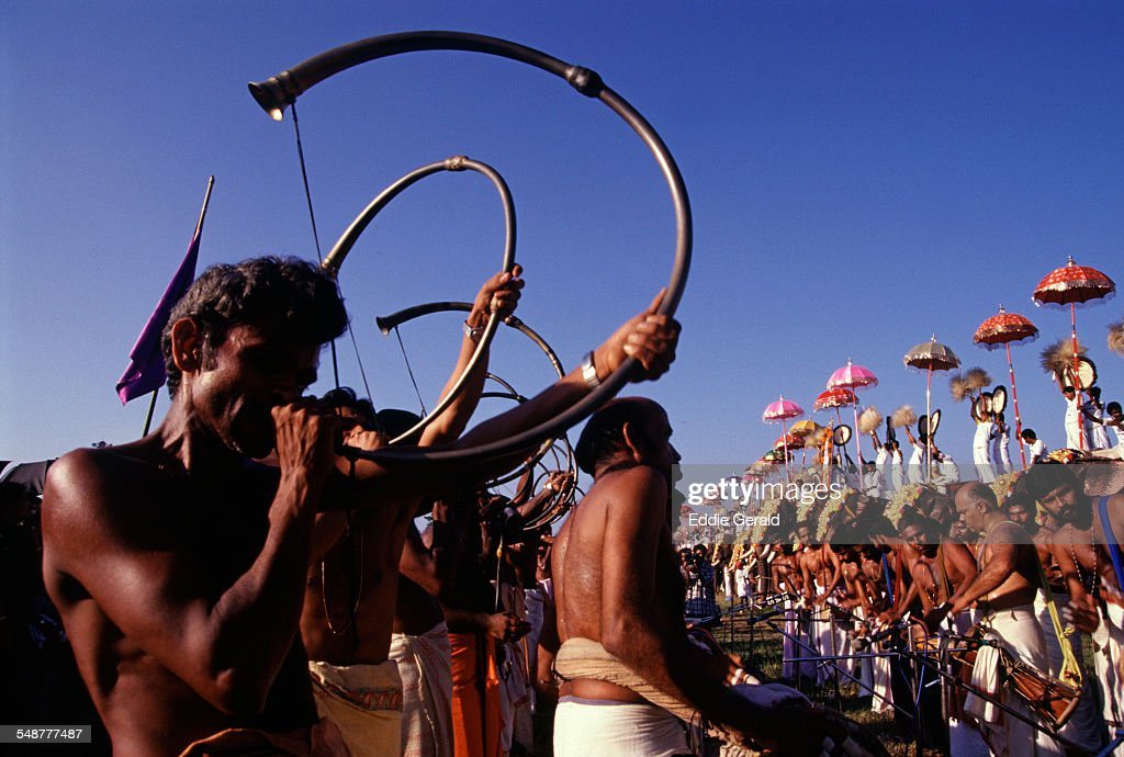 Typical Chenda Melam musical performance during Thrissur pooram festival in the state of Kerala South India