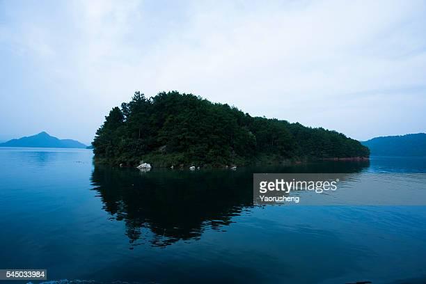 Typical Chinese style mountain and lake,Qiandao Lake,Zhejiang,China