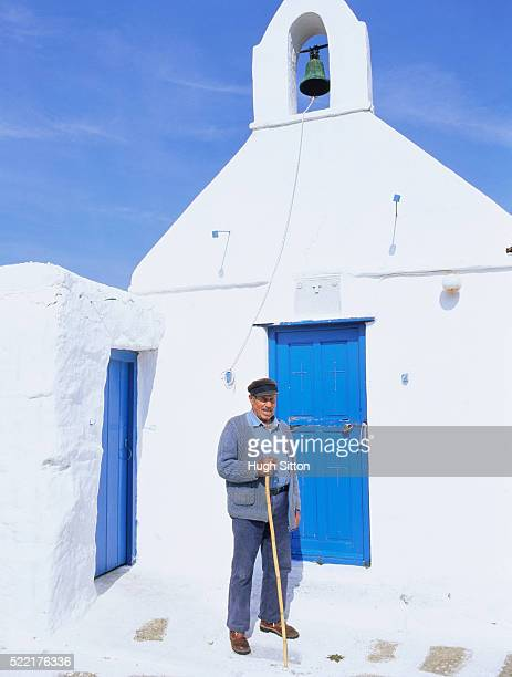 typical church, cyclades, mykonos, greece - hugh sitton stock pictures, royalty-free photos & images