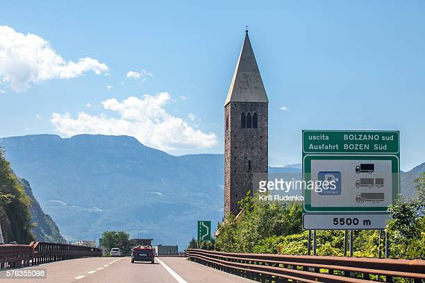 Typical church tower near Bolzano, Italy