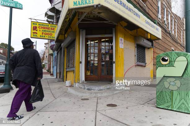 Typical corner food market along Germantown Avenue in the Germantown section of Philadelphia PA on November 9 2017 In the beginning of November the...
