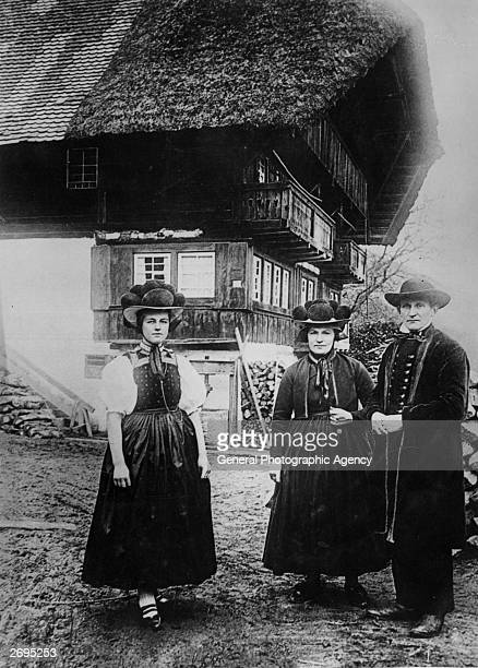 Typical costumes worn by peasants in the valley of Gutachtal in the Black Forest
