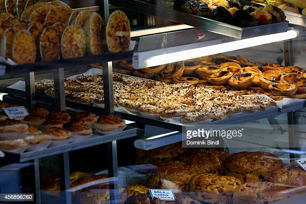 Typical custard tarts in a bakery on August 28 2014 in Lisbon Portugal