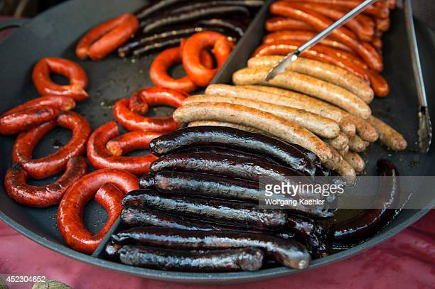 Typical Czech sausage stand on Wenceslas Square which is one of the main city squares and the center of the business and cultural communities in the...