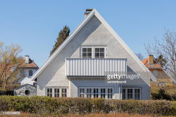 typical danish suburb house - denmark stock pictures, royalty-free photos & images