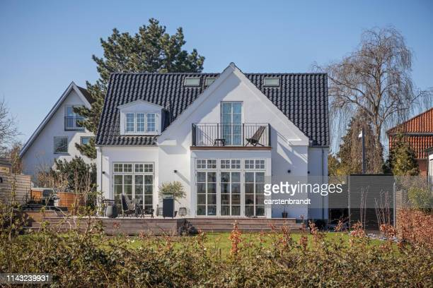 typical danish suburb house - danish culture stock pictures, royalty-free photos & images