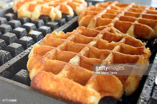 A typical dessert of Belgium waffle is displayed at the Expo 2015 at Milan Rho Fiera on June 12 2015 in Milan Italy