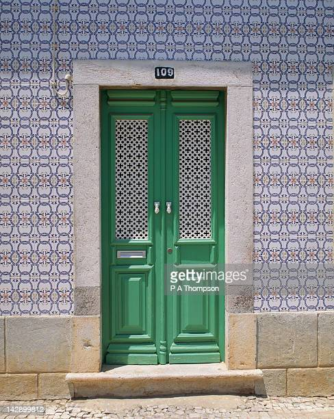 typical door of house, tavira, algarve, portugal - tavira imagens e fotografias de stock