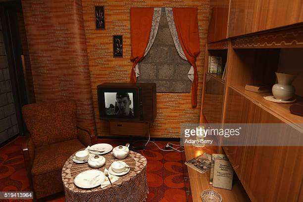 A typical East German living room is seen during the opening of 'The Wall Museum East Side Gallery' at East Side Gallery on April 6 2016 in Berlin...