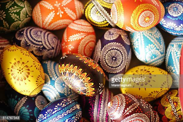 typical easter eggs - polish culture stock photos and pictures