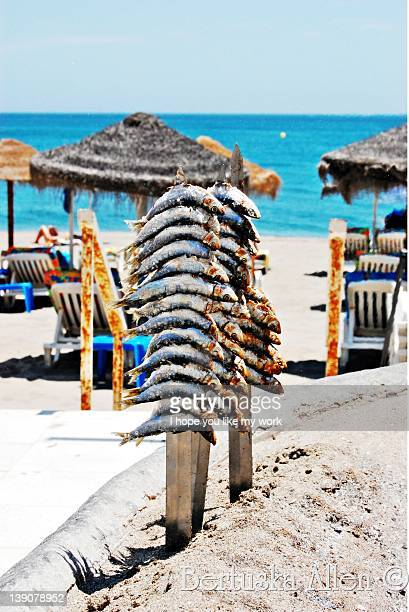 "typical ""espeto"" from málaga - fuengirola stock photos and pictures"