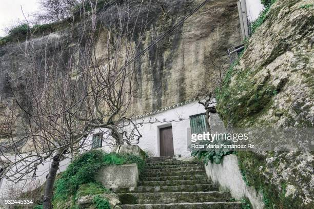 Typical facade of a house in the village of  Setenil de las Bodegas pierced in the wall of a mountain. Cadiz, Andalusia, Spain