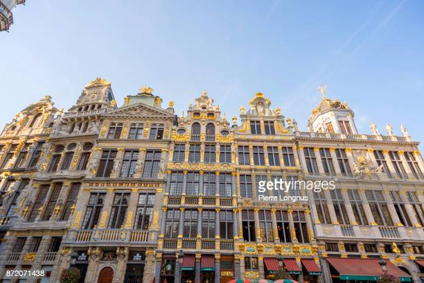 Typical facades located on the right side of the City Hall on The Grand Place, UNESCO World Heritage Site, Brussels, Belgium