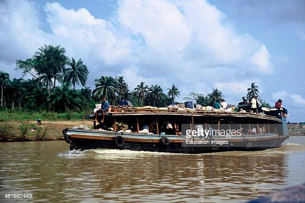 Typical ferryboat on the Nun River in Bayelsa State in the Niger Delta of Nigeria West Africa