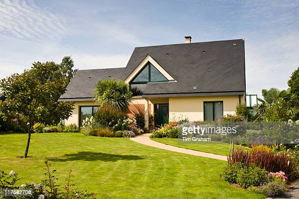 Typical French modern bungalow house at Ernee in Normandy France
