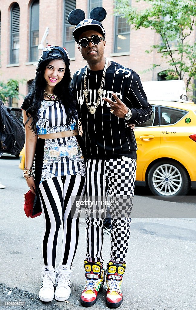 Typical Friday Night is seen outside the Jeremy Scott show wearing Typical Friday Night and Jeremy Scott on September 11, 2013 in New York City.