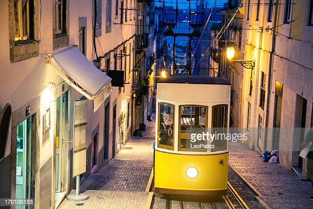 Typical funicular in Lisbon, an attraction for tourists