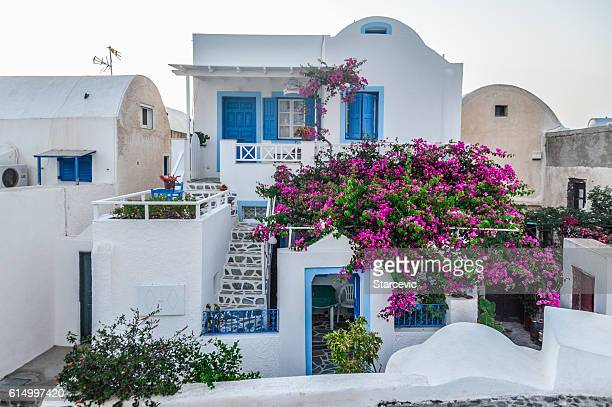 typical greek island architecture on santorini island, greece - whitewashed stock photos and pictures