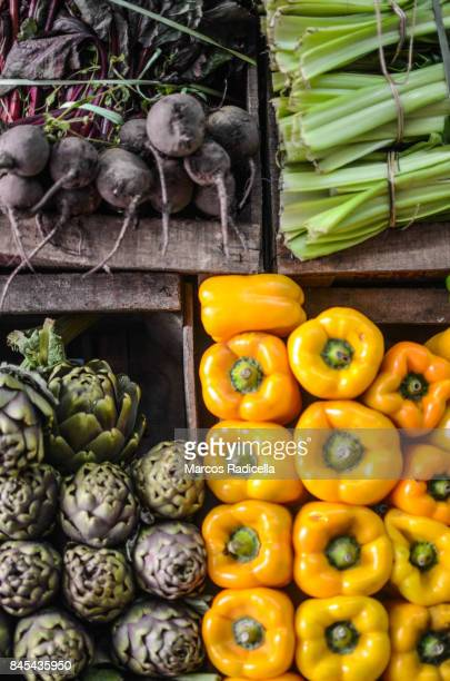 typical greengrocery in buenos aires, argentina - radicella stockfoto's en -beelden