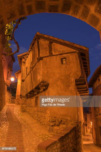 typical house of albarracin at night - teruel province - aragon - spain. - nook architecture stock pictures, royalty-free photos & images