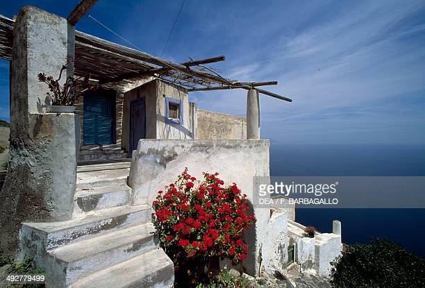 Typical house on the island of Alicudi Aeolian Islands Sicily Italy