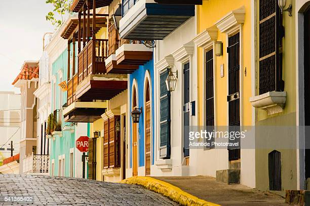 typical houses in old san juan - old san juan stock pictures, royalty-free photos & images
